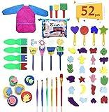 Herramientas de Pintura para Niños, Hirsrian 52 Pinceles de Esponja, Niños Cepillos de Pintura de Esponja, Cepillo de Esponja Kit de DIY, Niños Temprano Aprendizaje Esponja Pintura Cepillos