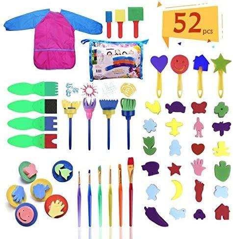Herramientas de Pintura para Niños, 52 Pinceles de Esponja, Niños Cepillos de Pintura de Esponja, Cepillo de Esponja Kit de DIY, Niños Temprano Aprendizaje Esponja Pintura Cepillos