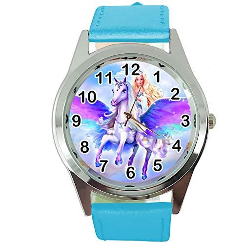 TAPORT Magic Unicorn Pegasus - Reloj redondo de cuarzo con correa de piel azul