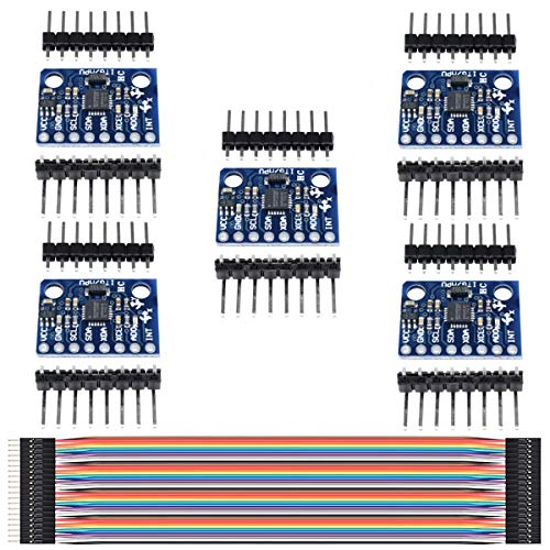 Youmile 5Pack MPU-6050 Beschleunigungsmessermodul GY-521 3 Achsen Gyroskop 3 Achsen Beschleunigungsmesser 6DOF Sensor 16 Bit AD Wandler Datenausgang IIC I2C für Arduino mit Dupont Kabel 40Pin