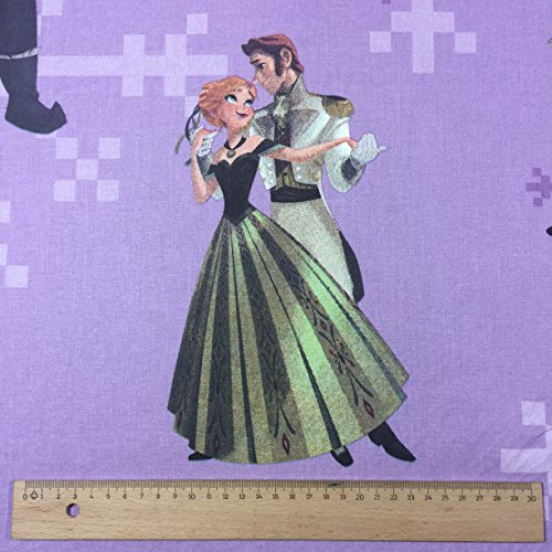 lizenziert von Disney–Lila basiert auf der Frozen Anna Neuheit Print Premium Grade 100% Baumwolle feines Gewebe Kinder Vorhang Betten Stoff 142cm breit, Meterware,