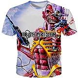 Iron Maiden Camiseta Estilo de la Calle Patrón de Dibujos Animados de impresión de Manga Corta Cuello Redondo T Shirt Blusa Summer tee Blusa Hombres Unisex (Color : A09, Size : S)