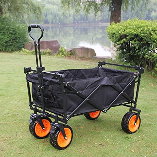 NSWDC Carro de Mano, Carro de jardín Camping Car, Carro de Todoterreno, Neumáticos giratoria 360° Mango telescópico - para Todos los terrenos,Negro