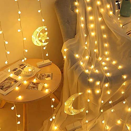 40 luces LED de globo, luces blancas cálidas de 5m con pilas y USB, luces de hadas de 2 modos, decoraciones ideales para Navidad, bodas, fiestas de cumpleaños, paredes, ventanas y dormitorio