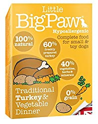 Nutritionally designed for smaller and toy breed dogs Higher calorie and protein content 100 Percent natural 50 Percent free run Turkey Grain free Hypoallergenic Complete wet food