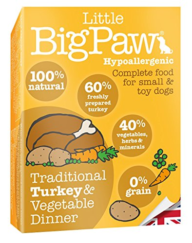 Little Big Paw Dog Small Breed Traditional Turkey & Veg Dinner Tray, 7 x...