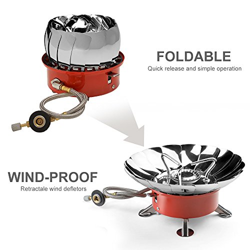ODOLAND Windproof Camping Stove - Backpacking Gear, Collapsible Portable Outdoor Camping Gear, Propane Gas Burner with Electronic Ignition for Camping, Hiking, Hunting Outdoor Activities