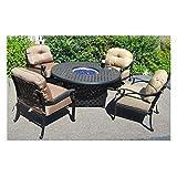 Fire Pit Table Set Elisabeth 5pc Deep Seating Cast Aluminum Patio Furniture Desert Bronze