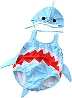 Toddler Baby Boys & Girls One-Piece Swimsuits 3D Cartoon Shark Rash Guard Swimwear Set Bathing Suit with Hat for Kids