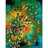 5DDiamondPainting Mariposa colorida 5D Kit de pintura de diamante,Bordado de punto de cruz de diamantes de imitación Artesanía30x40 cm(Sin marco)