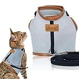 PiuPet Premium Katzengeschirr mit Leine, 1,20m Katzenleine, Sichere & Robuste Katzengarnitur