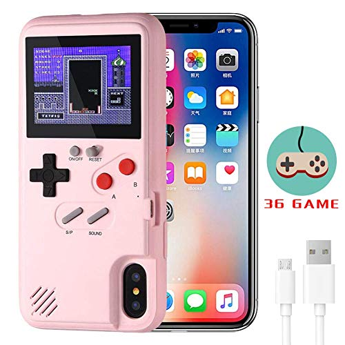 White Elekpopu Game Case for iPhone 11 Pro Retro 3D Game Cover with 36 Classic Games