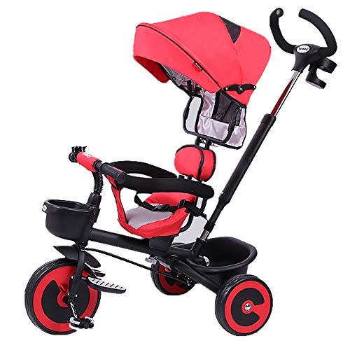 YumEIGE driewieler kinderen driewieler met duwstang 1-6 jaar oud verjaardagscadeau kinderen wandeltochten peuter trike met wielkoppeling luifel belasting 25 kg