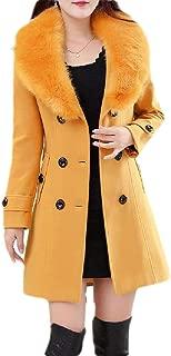 Macondoo Womens Faux Fur Collar Overcoat Double Breasted Woolen Pea Coat Jacket