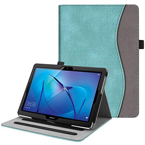 Fintie Hülle für Huawei Mediapad T3 10 - Multi-Winkel Betrachtung Kunstleder Schutzhülle mit Dokumentschlitze für Huawei T3 10 24,3 cm (9,6 Zoll) Tablet-PC, Jeansoptik Türkis