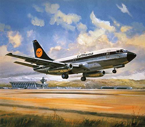 TAHEAT DIY Ölgemälde nach Zahlen, Leinwand Ölgemälde Flugzeug für Erwachsene und Zeichnung Anfänger Malerei nach Zahlen ohne Rahmen 16 x 20 Zoll