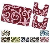 emmevi Juego de 3 alfombrillas de baño de Giro de baño, absorbentes, parte trasera antideslizante, ramas estilizadas, mod. ASSO3, juego de 3 piezas, color rosa