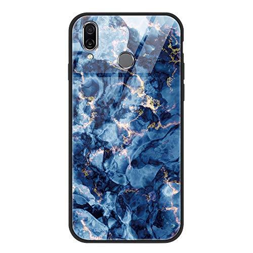 Yoedge Huawei P Smart 2019 Hülle, Stoßfest Hybrid Schutzhülle [TPU Silikon + Glas Rückseite] Glashülle mit Muster Motiv Handyhülle Kratzfeste Hülle Cover für Huawei P Smart 2019 6,21