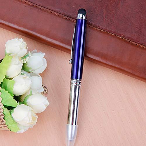SENRISE - Penna a sfera con torcia LED, 3 in 1: penna, pennino capacitivo e luce LED, con ricarica e pile, per scrittura notturna, confezione da 1, blu