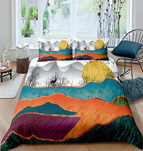 MGORJGR 3D Printed Christmas bedding set Bohemian Comforter Cover set with Pillowcase Deer Duvet Cover set Queen King Size