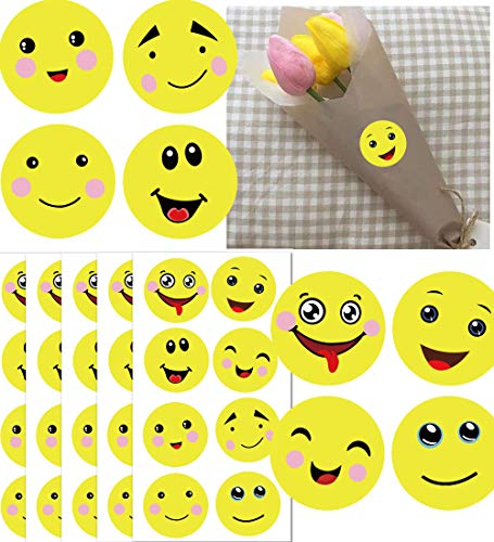 1.5 Inch Yellow Smiley Face Stickers 8 Unique Designs - Smiling Face Reward Stickers for Teachers Class Party 504 Adhesive Happy Face Stickers (Yellowish, 1.5 inch)