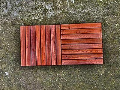 Outdoor Flooring -Interlocking Deck Tiles - 10 Pack - Patio Tile - Wood Shower Floor - decking - Bathroom Flooring- 10 Pack - Wooden Decor - Waterproof Weather Proof - Composite Boards for Basement