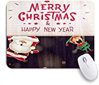 VAMIX マウスパッド 個性的 おしゃれ 柔軟 かわいい ゴム製裏面 ゲーミングマウスパッド PC ノートパソコン オフィス用 デスクマット 滑り止め 耐久性が良い おもしろいパターン (サンタクロースとエルフのクリスマスベルリング雪シンプル)