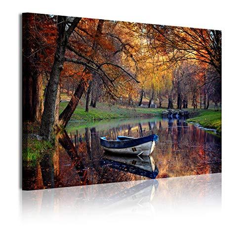 DekoArte 355 - Cuadros Modernos Impresión de Imagen Artística Digitalizada | Lienzo Decorativo para Tu Salón o Dormitorio | Estilo Paisaje Otoño con Agua Tonos Marornes Naturaleza | 1 Pieza 120x80cm