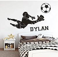 サッカーゴールキーパーウォールステッカーパーソナライズされた子供たちの名前家の装飾保育園の寝室教室ビニールデカール63x42cm