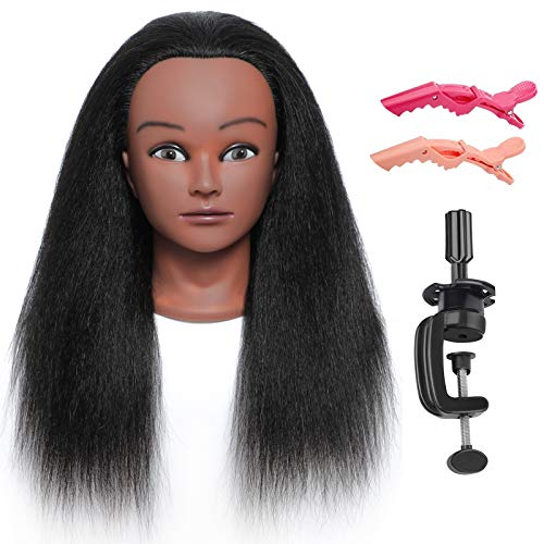 Mannequin Head With Hair Cosmetology Mannequin Head Black Hair Mannequin Head Manikin Head Hair Practice Head For Braiding Styling Doll Head Training Head With Clamp Stand Hair Clips(16inch)