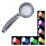 REY Alcachofa de Ducha LED Multicolor, Cabezal de Ducha con Luz en 7 Colores Diferentes y Cambiantes