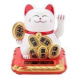 gatto fortunato, gatto che saluta la fortuna agitando il braccio buona fortuna gatto home car decor ad energia solare, 2,48 pollici(bianca)