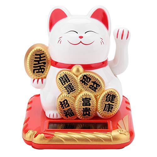 Maneki Neko - Gato de la suerte con energía solar para decorar el coche, color negro y dorado, blanco