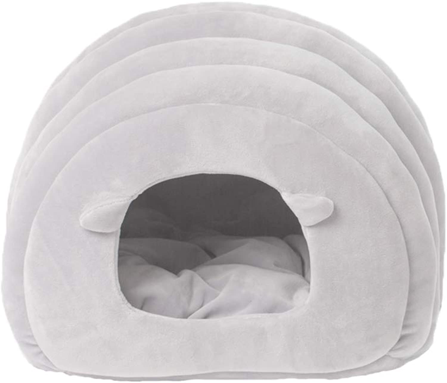 LIZHIQIANG Cat Bed, Inner Pad Washable Cat Nest, Pet Waterloo, SemiClosed Cat Sleeping Bag, Four Seasons Universal Keep Warm Cat and Dog Bed (2 Colours) (color   Light Grey)
