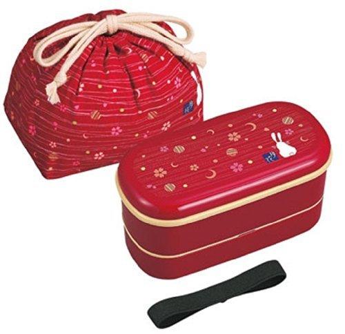 OSK Japanese Traditional Rabbit Moon Bento Box Set, Includes 620ml 2-Tier Bento Box, Chopsticks, Bento Bag, Red by OSK
