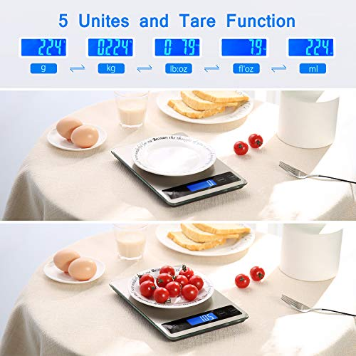 Product Image 4: Kitchen Scale, Homever 15kg Food Scale with 9 X 6.3in Big Panel, Stainless Steel Digital Kitchen Scale with 1g Accuracy and Back-lit LCD Display.