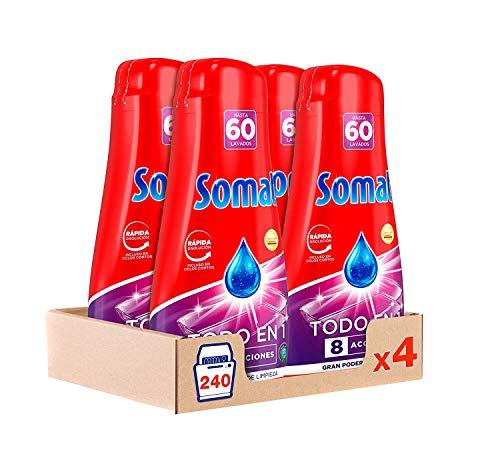Somat Todo en 1 Gel Detergente Lavavajillas 60 Dosis - Paquete de 4, Total: 240 Lavados (4.32 L)