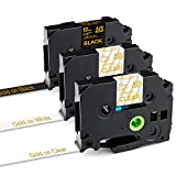 Greateam Compatible Label Tape Replacement for P-Touch Tape 12mm 0.47' Brother 1/2Inch TZe Label Tape TZe-134 TZe-234 TZe-334 (Gold on Clear/White/Black) for Brother PTD210 PTD400 PTD600, 3-Pack