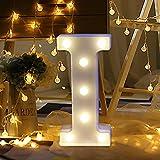Lettres Lumineuses Alphabet Lumineux Lampe LED, lettres de l'alphabet (A-Z), décorations à suspendre ou poser, pour Réceptions Partie Mariage Bar Maison Décoration, Plastique (I)