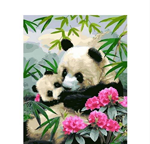 Vanzelu moeder kind panda dier DIY digitaal schilderij door cijfers Moderne muurkunst canvas schilderij geschenk voor kinderen wooncultuur 40X50 geen lijst