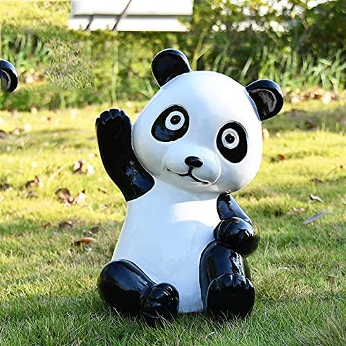 Estatua de jardín Adorno de jardín a prueba de agua Adorno de lindo panda de jardín, Paisaje de jardín al aire libre Decoración de animales, Escultura de jardín de resina impermeable para jard