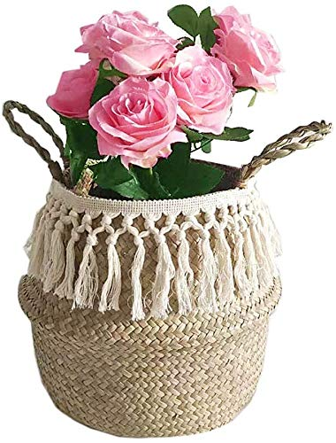 Cesta para la ropa plegable, cesta de flores tejida a mano, cesta...