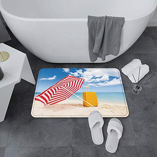 Alfombrilla de Baño Antideslizantes de 60X100 cm,Amarillo y azul, Windy Sandy Beach con sombr,Tapete para el Piso Lavable a Máquina con Microfibras Suaves Absorbentes de Agua para Bañera, Ducha y Baño