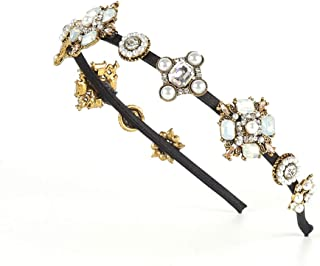 BERYUAN Fashion Baroque Women Pearl Black Gemstone Hairband Crystal Bejewelled Headband Rhinestone Hair Hoop Jewelry Velve...