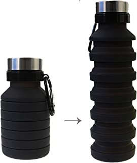 Vndaxau Collapsible Water Bottle for Travel and Outdoor with Carabiner,Silicone Sports Bottle Extensible 470ml/16oz up to 550ml/19oz,Leak-Proof,BPA Free,Wide Mouth