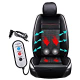 Fochutech Summer Car Seat Cover Driver Seat Cushion Cooling Winter Warm Automotive Seat Covers PU Leather Seat Protector Breathable Seat Cushion Fits All Seasons (Black, 1 Pack)
