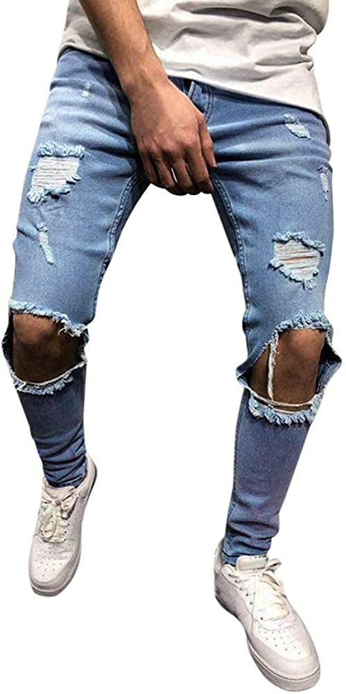 Beshion Mens Skinny Jeans Stretch Denim Pants Distressed Ripped Slim Fit Jeans Trousers Biker Tapered Leg Jean with Hole