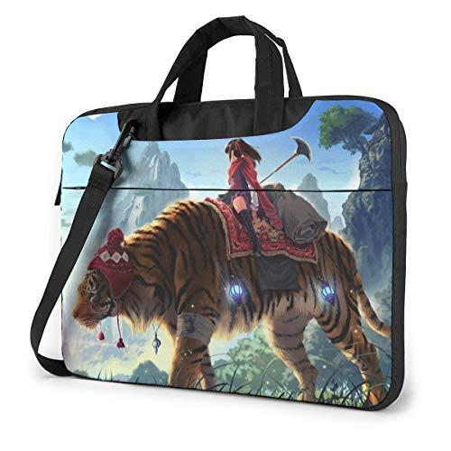 shenguang Ride Tiger Girl Laptoptasche Laptop Menger Tasche, Laptop Umhängetaschen Polyester Menger Tragetasche Hülle mit Einstellbarer Tiefe unten 14 Zoll