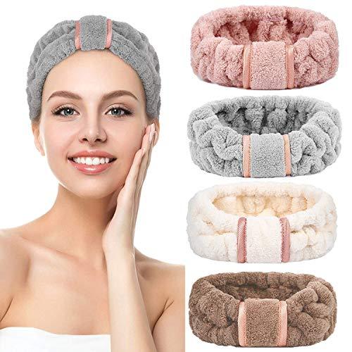 4 pezzi lavare viso fascia trucco spa fascia asciugamano spugna capelli fasce in microfibra papillon fascia doccia viso regolabile fascia per ragazze e donne (Style 1)