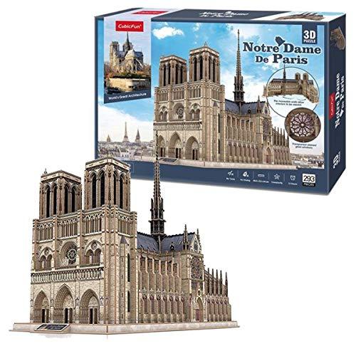 CubicFun 3D Puzzle Frankreich Notre Dame de Paris (Große) Architekturmodellbausätze Gotische Kirche Modellbau Geschenk für Erwachsene, 293 Stück